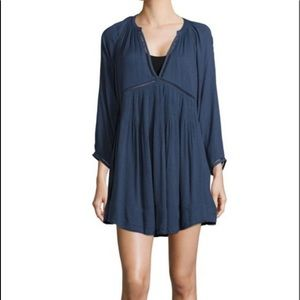 Free People plunge v neck long sleeve mini dress